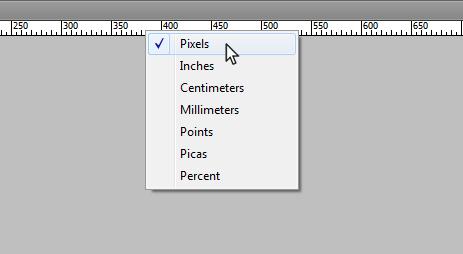 Выбор единиц измерения в Photoshop