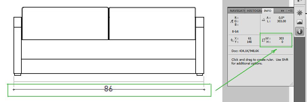 Измерение расстояния в Photoshop