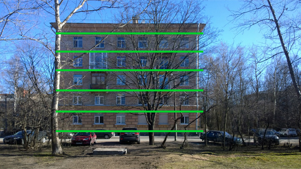 Сечения здания