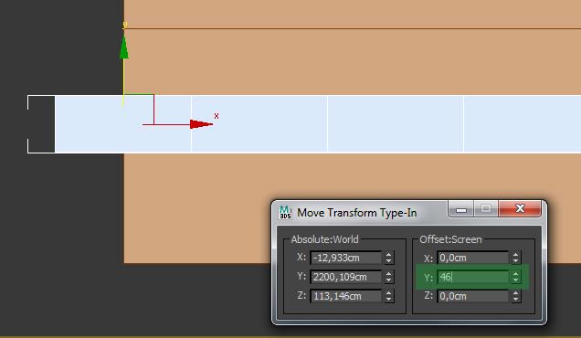 Смещение с помощью Move Transform Type-In